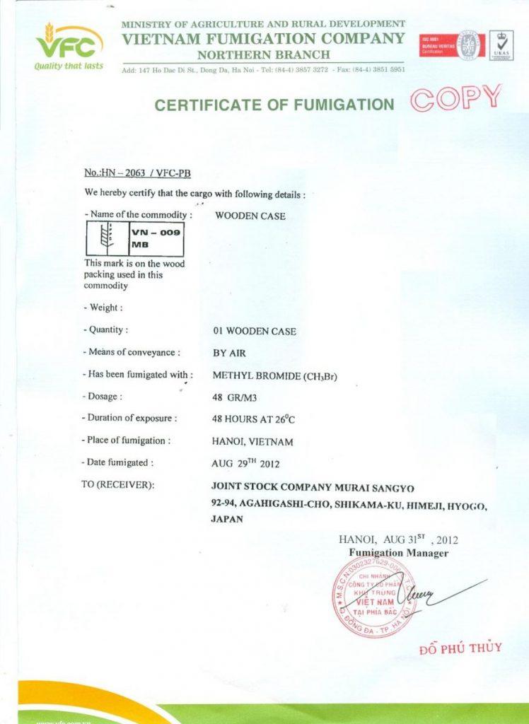 giấy chứng nhận hun trùng