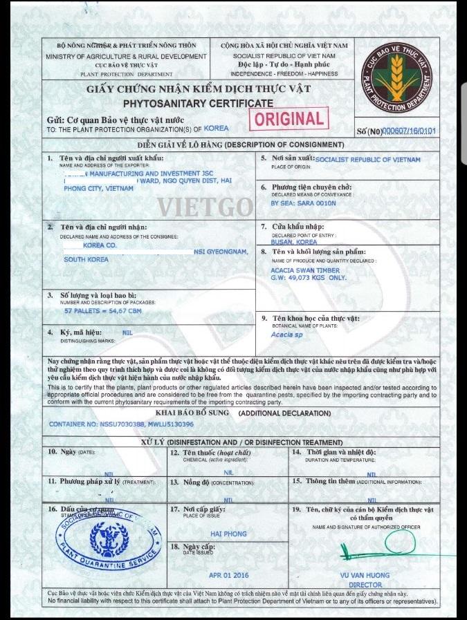 giấy chứng nhận kiểm dịch thực vật