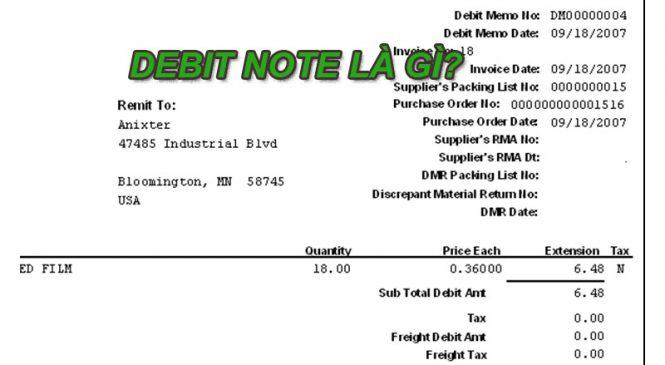 Debit note trong xuất nhập khẩu là gì?