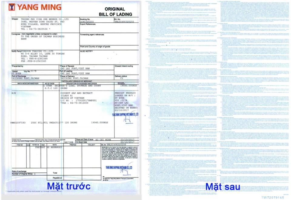 vận đơn bill of lading